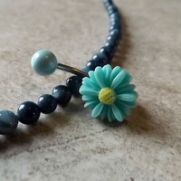 Small Daisy Mint Green Belly Ring Navel Ring Stainless Steel Body Jewelry