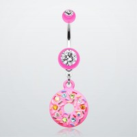 Pink Frosted Sprinkled Donut Belly Button Ring