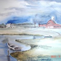 Original Watercolor Painting Red Barn and Pond 22 x 30 by baybeari