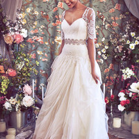 """Drop Waist Ballgown with Artfully Draped Tulle, Organza, and French Lace, Short Sleeve Sweetheart Lace bustier, """"Madeline-Hope"""" by Schone"""