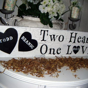 Two Hearts, One Love - personalized wedding sign