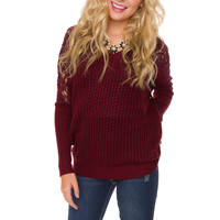 Jamie Lace Sweater - Burgundy