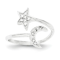 Sterling Silver Star And Moon CZ Ring