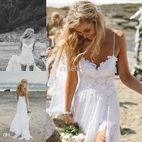 Sexy Backless Spaghetti new beach wedding dresses high low-income summer Chiffon wedding dresses ivory white