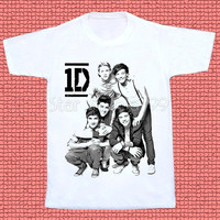 1D TShirt One Direction TShirt Pop Rock TShirt Boy Band TShirt Short Sleeves Shirt Women TShirt Unisex TShirt White Tee Shirt Size S,M,L,XL