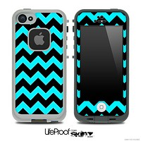 Black/Turquoise Chevron Pattern Skin for the iPhone 5 or 4/4s LifeProof Case