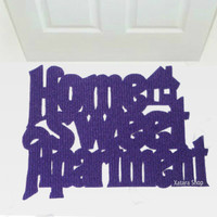 """Handmade doormat  """"Home sweet Apartment"""" with a little house"""