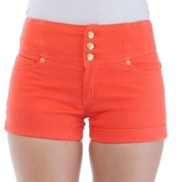 Classic Designs Juniors High Waisted 5 Pocket Stretch Cotton Short Shorts in White Size: 26