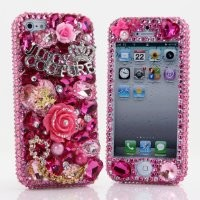 BlingAngels® 3D Luxury Bling iphone 5 5s Case Cover Faceplate Swarovski Crystals Diamond Sparkle bedazzled jeweled Design Front & Back Snap-on Hard Case (100% Handcrafted by BlingAngels) (Pink Leopard Juicy Design with Gold Chain)
