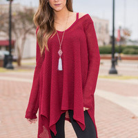 Smooth Introductions Tunic, Burgundy