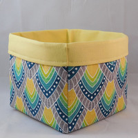 Pretty Gray and Yellow Feather Pattern Fabric Basket For Storage Or Gift Giving