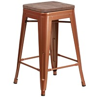 Copper Bar Stool with Wooden Seat