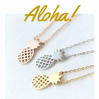 Pineapple Cutout Necklace Boho Chic 18k Gold or Silver~  Aloha!