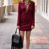 Adia Suede Lace Up Shift Burgundy Dress