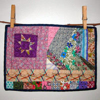 """Purple Freehand Star Mini Quilt, Hand Pieced & Hand Quilted from 20th c. Vintage Fabrics, 11 1/2"""" (29.2cm) X 8 1/4"""" (21cm), Free US shipping"""