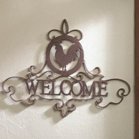 Country Rooster Silhouette Welcome Sign