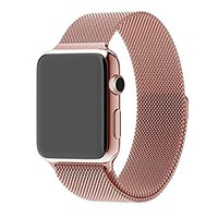 42mm Apple Watch Band Rose Gold, MrPro Magnetic Mesh Milanese Loop Band, Stainless Steel Bracelet Strap Replacement with Strong Magnet Closure Buckle for Apple Watch