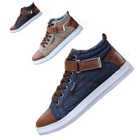 2015 spring new men's leisure fashion Board high shoes breathable canvas England style buckel patchwork mix-color flats