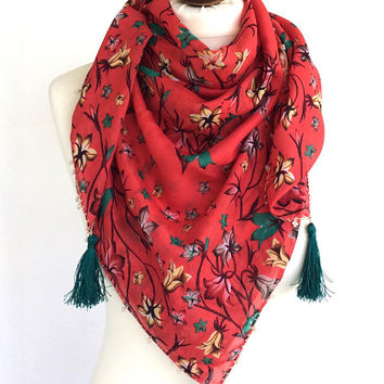 Floral Cotton Scarf, Turkish Square Scarf, Boho Beach Coverup, Beaded Scarf, Summer Pareo, Boho Tassel Scarf, Printed Scarf, Women's Gift