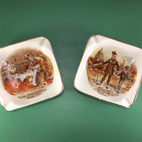2 Vintage Ashtrays, Ashtray Set, Ceramic Ashtrays, Cigar Room, Trinket Dish, Catch All Tray, English Ware Ashtrays, Landcaster Sandland