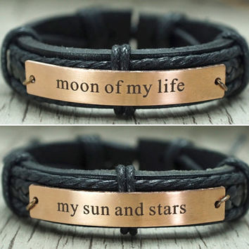 Moon of my life - my sun and stars bracelet, Game of Thrones, Best Friend Bracelet, genuine leather matching bracelets, his and her bracelet
