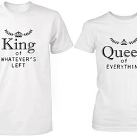 Matching Couple Shirts - King and Queen of Everything White Cotton T-shirt Set