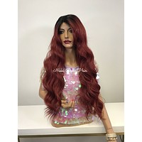 Red Ombre Brazilian SWISS Lace Front Wig - April Dreams  121758