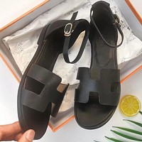 Hermes Summer Popular Women Casual Leather Sandals Shoes Black