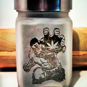 The Incredibly Dank Hulk Stash Jar - Etched Glass- Free UPGRADE to Priority Shipping within the US