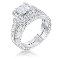 Chiara Princess Cut Halo Engagement and Wedding Ring Set | 2.2ct
