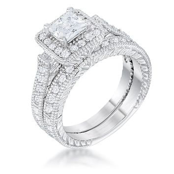Chiara Vintage Princess Halo Engagement Ring Set | 3ct