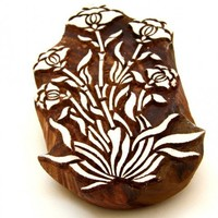 Poppy Flower Indian Wooden BLock Printing Stamp Floral design