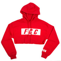 FCC CROP BOX LOGO HOODIE IN RED