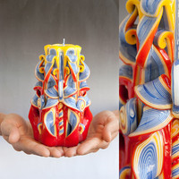 Red candle - Carved candles - Colorful