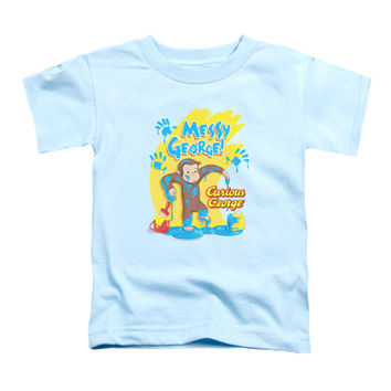 Curious George Boys' Messy George Childrens T-shirt Light Blue