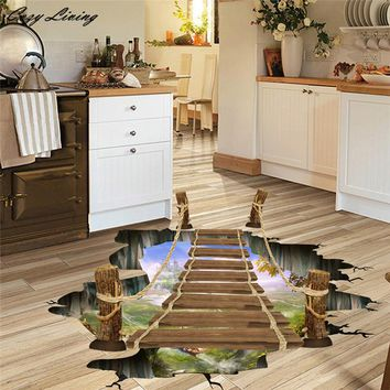 3D Bridge Floor Wall Stickers Removable Mural Decals Vinyl Art Living Room 60*90cm 3D Wallpaper Sticker Bedroom Posters D20