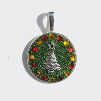Green Crystal Clay Pendant, Necklace with Green Micro Beads Enhanced with Red and Yellow Swarovski Crystals and  Metal Christmas Tree Center