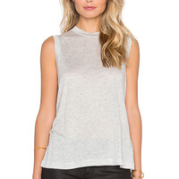 T by Alexander Wang Viscose Jersey High Neck Flared Tank in Light Heather Grey