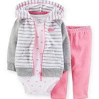 Carter's Newborn-24 Months Striped Zip-Front Hooded Cardigan Whale-Pri