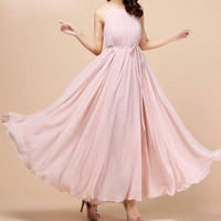 Pink Sleeveless Chiffon Maxi Dress