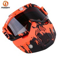 POSSBAY 13Type Motorcycle Goggles Open Face Helmet Detachable Mask Goggles Ski Motocross Dirt Bike Outdoor Sport Cycling Glasses