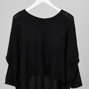 Long Sleeve Boxy Cropped Sweater - Black