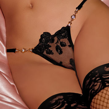 Timeless Elegance Chain & Rhinestone Lace G-string
