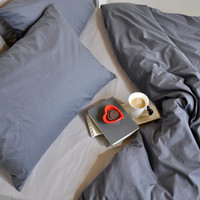 Dark Grey Duvet Cover Set Full Queen King & Light Gray Sheet Set - Pure Cotton Bedding, Solid Color Bed Linen, Cozy Neutral Bedding