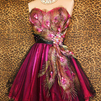 PINK BLACK PEACOCK PROM COCKTAIL EVENING PAGEANT BRIDAL SHORT GOWN DRESS XS 2/4