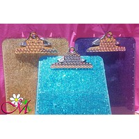 Glitter Clip Board, Office Supplies, School Supplies, (Plastic), (Your Choice of Color), Pink Clip Board