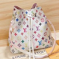 Hipgirls LV New fashion monogram print leather shoulder bag crossbody bag handbag bucket bag
