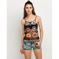Women Strap Knit Floral Crochet Hollow Tank Top Camisole