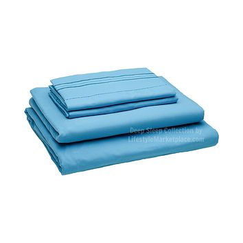 Twin XL / Dorm / Hospital Bed Sheets - Beach Blue - Deep Sleep 1800 Thread Count Sheet Set - Breathable, Moisture Wicking, Ultra Soft, Wrinkle Free