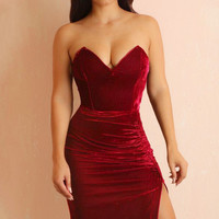 Tish Burgundy Velvet Dress